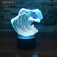 Creative Gift 3D Lamp LED Surfing Sport Night Lamp 3D Optical LED Touch Control Night Light USB Lamp for Bedside Christmas Decor