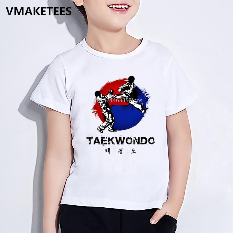 Детская летняя футболка с коротким рукавом для девочек и мальчиков, Детская Корейская Футболка с принтом тхэквондо, забавная повседневная ...