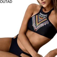 OUTAD Retro Black Trendy Sexy Bikini Set Summer Beach Women Charming Swimwear Two Pieces Swimsuit Lady Bathing Suit