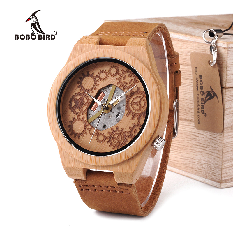 BOBO BIRD WB09 Exposed Movement Design Bamboo Wood Quartz Watches Real Leather Straps Skeleton Watch in Wooden Gift Box OEM bobo bird wh05 brand design classic ebony wooden mens watch full wood strap quartz watches lightweight gift for men in wood box