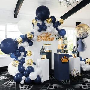 """Image 3 - Metable 104 12 polegadas azul marinho, branco fosco e lantejoulas de ouro, balões dourados, para """"festa de balão pequeno príncipe"""", """"festa da marinha"""""""