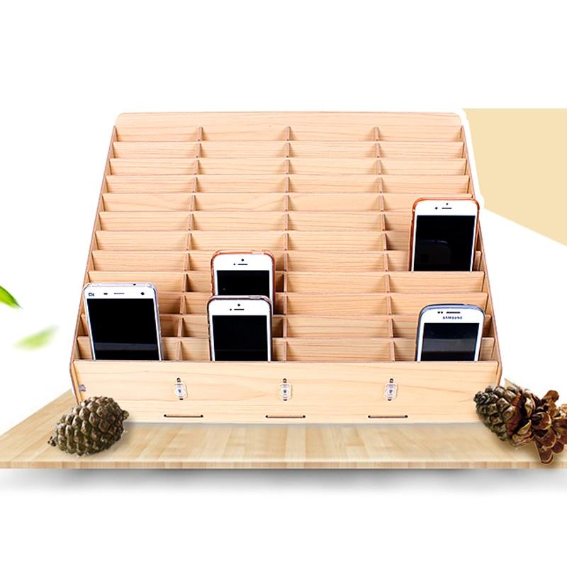 Wooden mobile phone bracket management storage box desktop office multi grid cell phone rack shop display