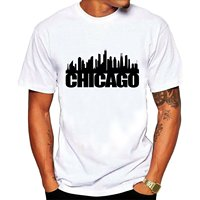 Summer Fashion Funny Tops Tee Casual Men S Chicago Skyline Tee Shirts