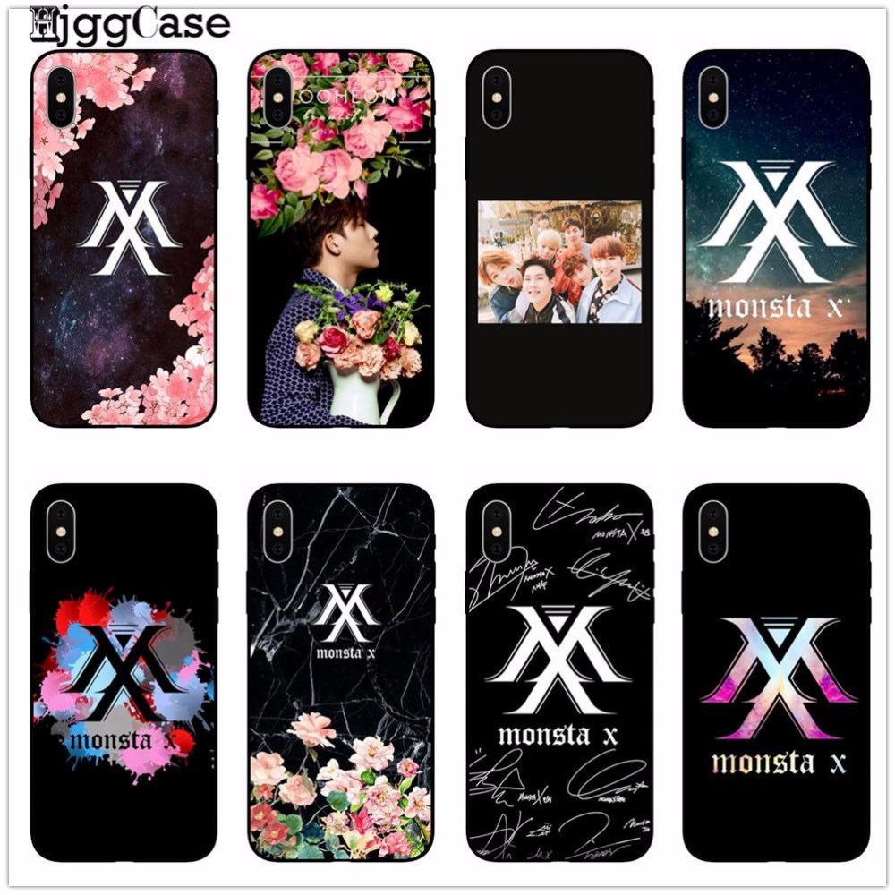 Monsta X <font><b>KPOP</b></font> Boy Group Fashion Coque Phone <font><b>Case</b></font> Cover black silicone Soft Protector Shell For <font><b>iPhone</b></font> X 6 6s 7 8 Plus 5 5S SE image