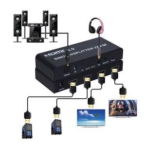 Image 2 - 2x2 HDMI 2.0 Anahtarı switcher Splitter 4 K @ 60Hz YUV 4:4:4 Optik SPDIF + 3.5mm jack Ses Çıkarıcı ile IR Uzaktan Kumanda