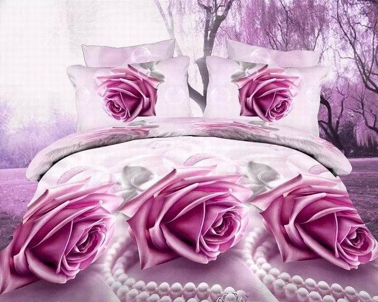 3D Rose Bedding set print Blue Purple Pink bedspread bed sheet duvet cover queen size full double linen roses department store