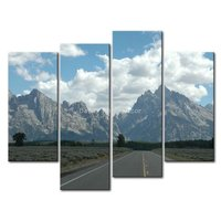 4 Panel Canvas Prints Painting Highway Landscape Painting Modern Canvas Art Picture Home Decor Paintings