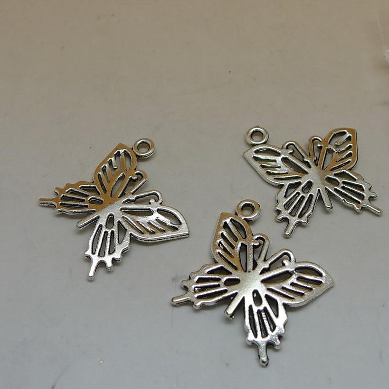 A6183 Wholesale 100pcs Tibet Silver Butterfly Charm Pendant Alloy Accessories 19x20mm