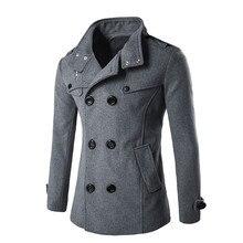Мужское осенне-зимнее пальто с отложным воротником, шерстяное мужское пальто, двубортное зимнее пальто