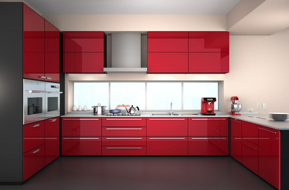 2017 new design design high gloss lacquer kitchen cabinets red color modern painted kitchen