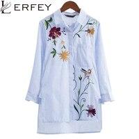 LERFEY Kadın Işlemeli Çiçek Çizgili Bluz Gömlek OL Casual Gömlek Asimetrik Uzunluk Bluzlar Yeni Uzun Kollu Tops