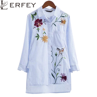 LERFEY Mujeres Bordado Floral de La Blusa A Rayas Asimétrica Longitud OL Camisas Sport Blusas Nueva Camisetas de Manga Larga