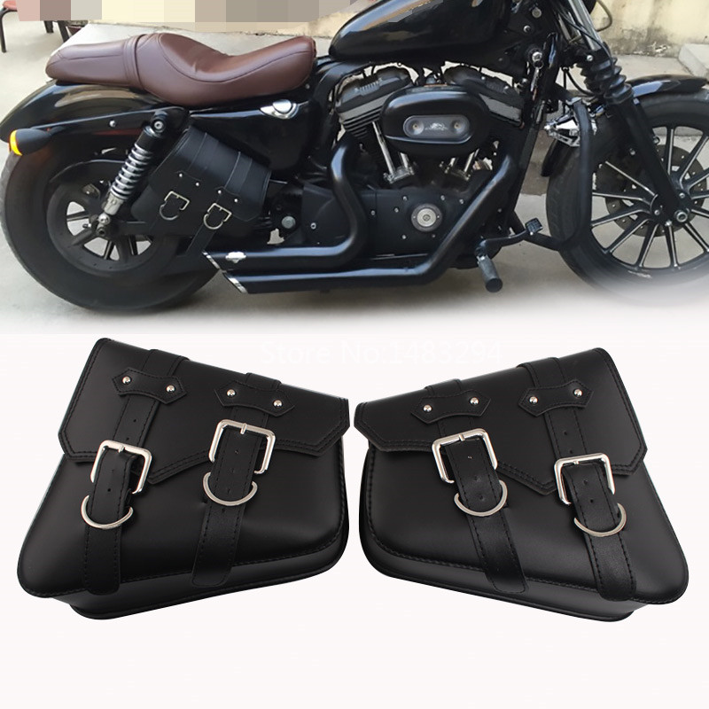 Black PU Leather Motorcycle Side Saddle Bag Fit For Harley XL 883 1200 Softail Left Right