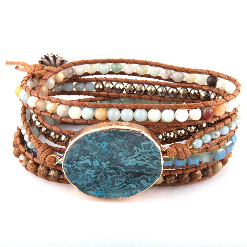 ee232cd78eb Strands Wrap Bracelets Jewelry Blue-Stone Handmade Natural-Stones/crystal  Charm-5
