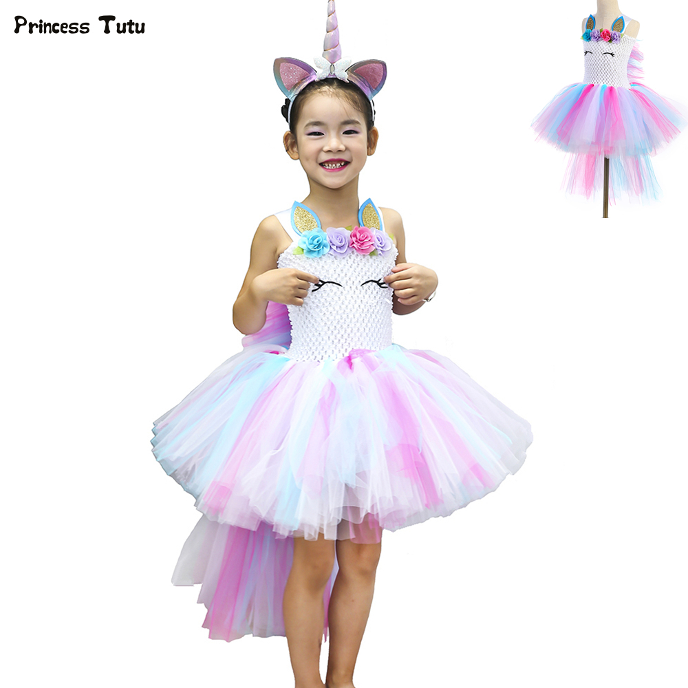 Pastel Unicorn Bustle Tutu Dress Princess Children Girls Halloween Costume Pony Fancy Kids Birthday Party Dresses for Girls 1-14 pastel girls flower unicorn tutu dress sweet girl birthday party dress children kids tulle princess dress fancy unicorn costume