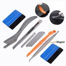 лучшая цена EHDIS Carbon Fiber Vinyl Car Wrap Tools Set Magnet Squeegee Scraper Knife Magnetic Sticker Wrapping Tool Window Tint Film Cutter