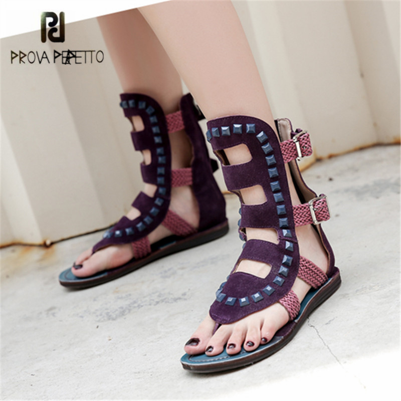 Prova Perfetto Purple Suede Rivets Studded Women Sandals Summer Beach Shoes Flip Flops Hollow Out Weave Flat Sandalia Feminina jady rose 2018 new rivets studded summer women sandals suede lace up hollow out gladiator sandals female casual beach shoes