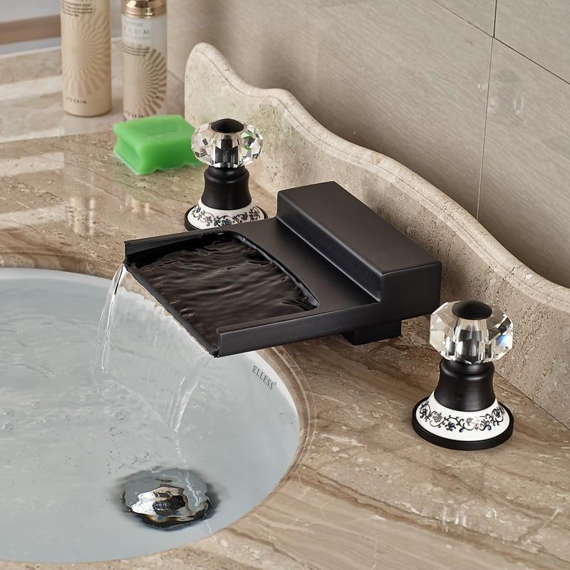 Modern Dual Cristal Handles Deck Mount Waterfall Spout Basin Faucet Dual Handles 3 Holes Mixer Tap