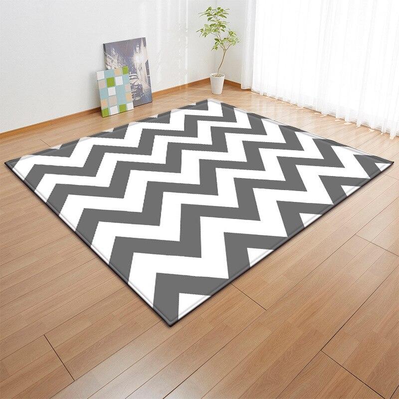 Gray Striped Carpet Nordic Baby Area