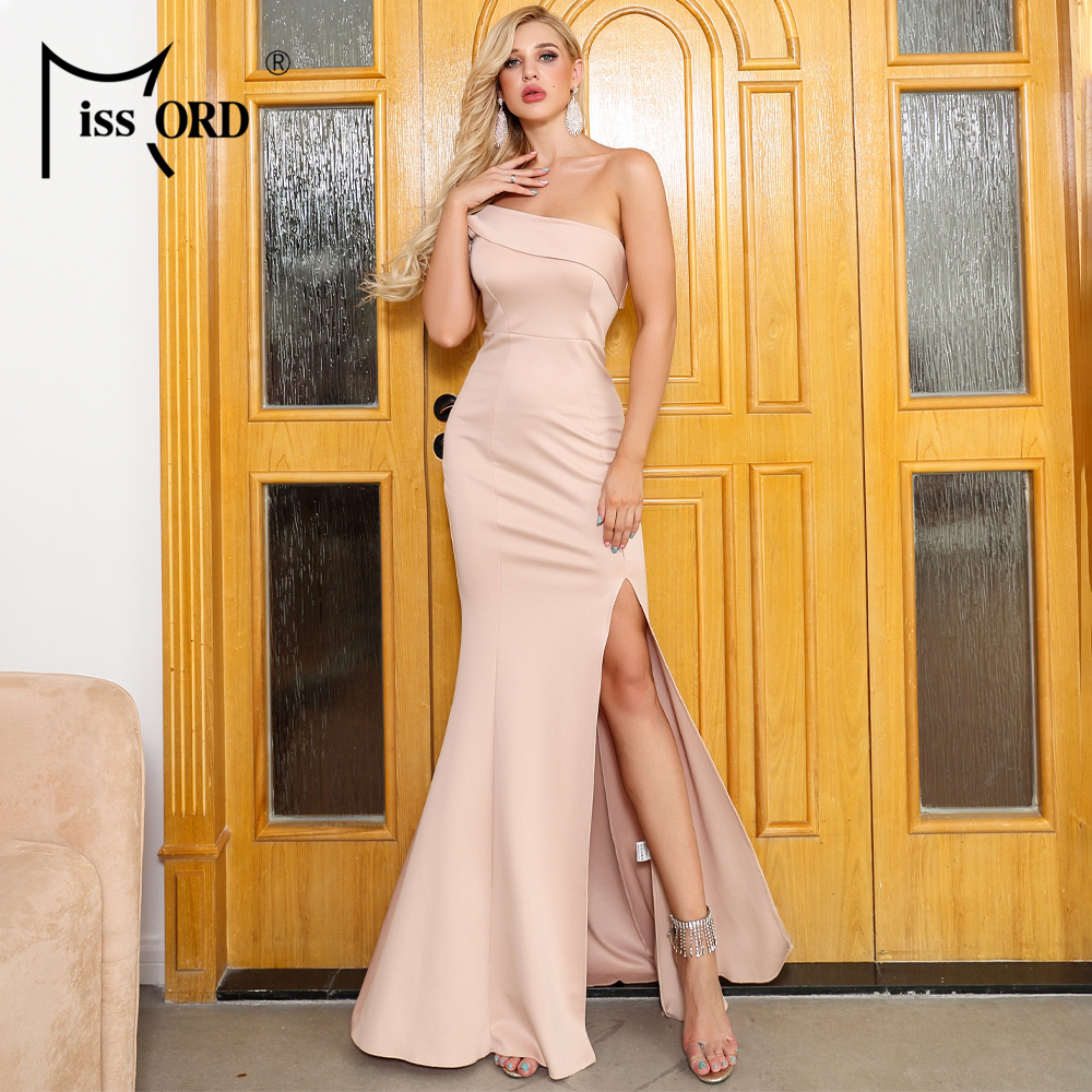 Missord 2020 Women Sexy Irregular Neck Off Shoulder High Split Dresses Female Backless Solid Color Elegant Dress  FT19547