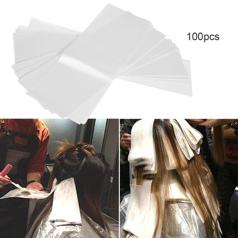 100pcs Pro Salon Hair Dye Paper Recycleable Separating Stain Dyeing Color  Highlight Tissue Hairdresser Salon Tool