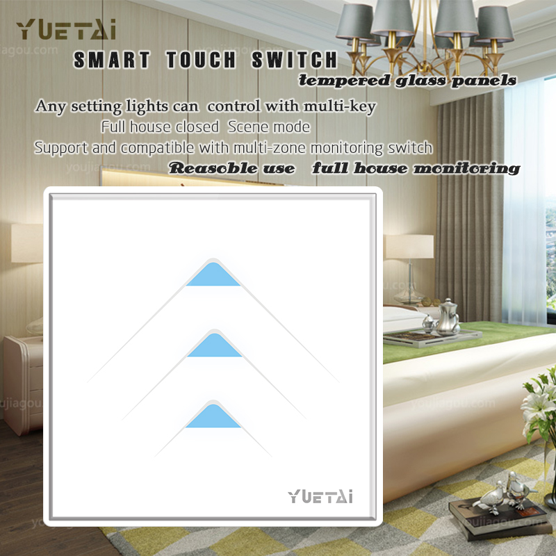 3 Gang 1 Way Crystal Glass Panel Touch Switch, Wall Light Switch For Smart Home smart home us au wall touch switch white crystal glass panel 1 gang 1 way power light wall touch switch used for led waterproof