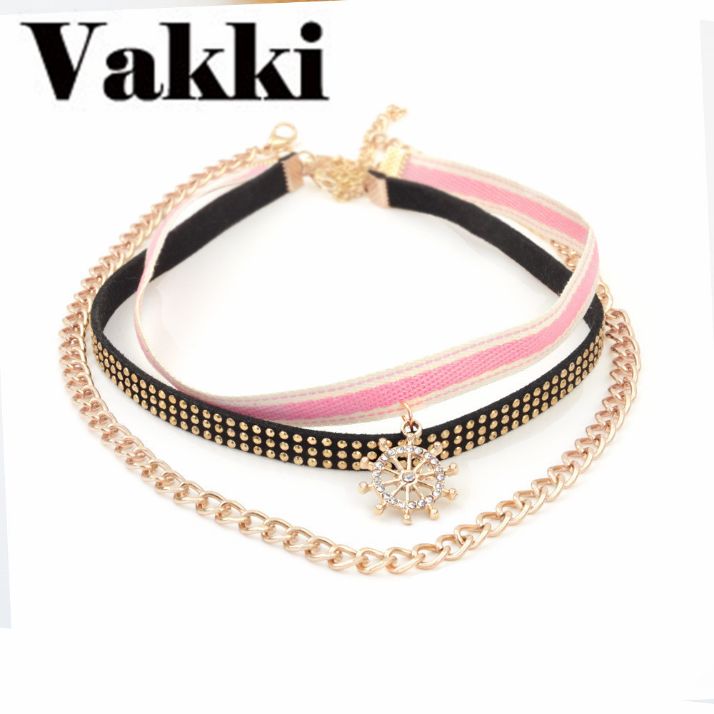 2018 Hot Sale Ornaments Multilayer Personality Flannelette Crystal Stripe Cloth Collocation Combine Gold Necklace Clavicle Chain