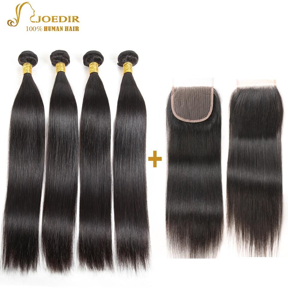 Joedir brasilianska rakt hår 4 buntar med stängning humant - Skönhet och hälsa