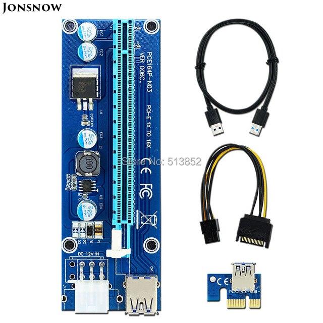 50 pçs/lote 006C PCIe 1x a 16x PCI-E Riser PCI Express Card USB Cabo de Dados 3.0 Pin IDE fonte de Alimentação Molex para Mineiro BTC Máquina