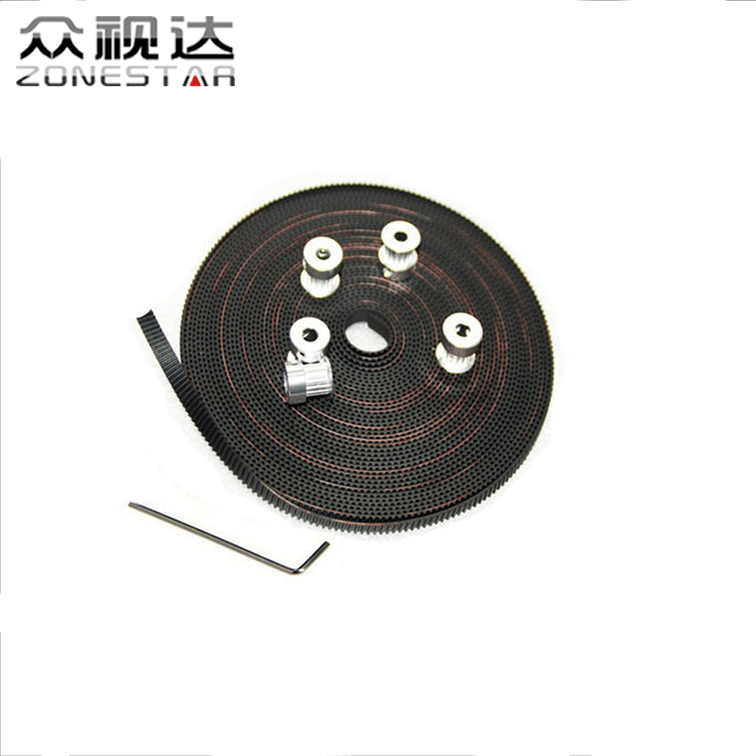 2PCS GT2 20Teeth Pulley Synchronous Wheel and 3m GT2-6mm Timing Belt and 1 Allen Key for Reprap 3D printer DIY Kit