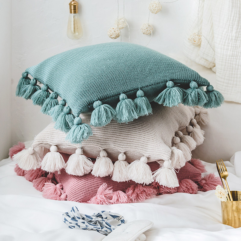 New knit Pure Cushion Cover Pillow acrylic ball tassel home sofa bed room textile adult child lover beauty Dec wholesale FG812 tassels pillow