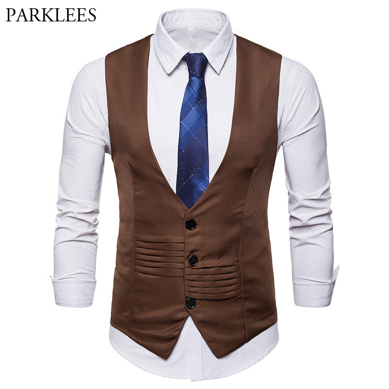 Mens Formal Single Breasted Suit Vest Waistcoat 2018 Brand New Slim Fit Business Wedding Tuxedo Vest For Men Colete Masculino