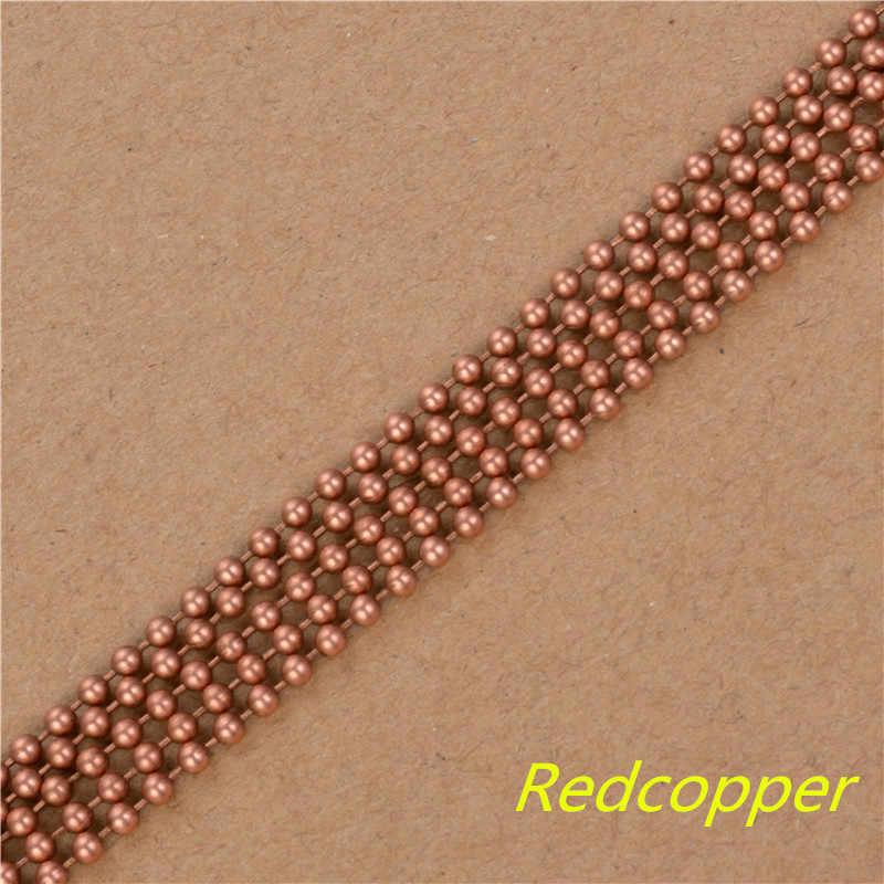 Ouro/Prata/Bronze/RedCopper/Preto 10 m/lote Tamanho 1.2mm 1.5mm 2.0mm 2.4mm colar de Corrente bola Contas Conector Para Fazer Jóias