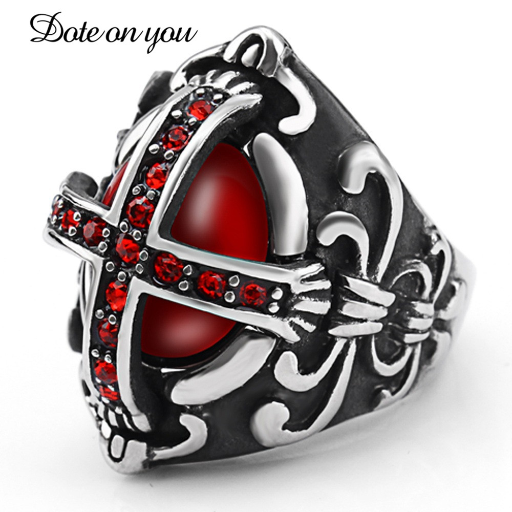Mens Rings Jesus Religious Punk Men Stainless Steel Rings The Knights Templar Cross Finger Ring with Red Zircon Gothic Jewelry