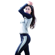 High Quality women yoga sets slim pink full sleeve shirt long pants body building gym sports wear women clothing fitness