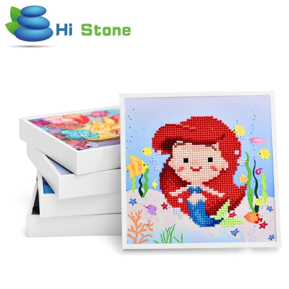 Мультфильм алмаз живопись 5D DIY игрушки для детей-защелка с белой рамкой Алмаз Вышивка Русалка Детский подарок