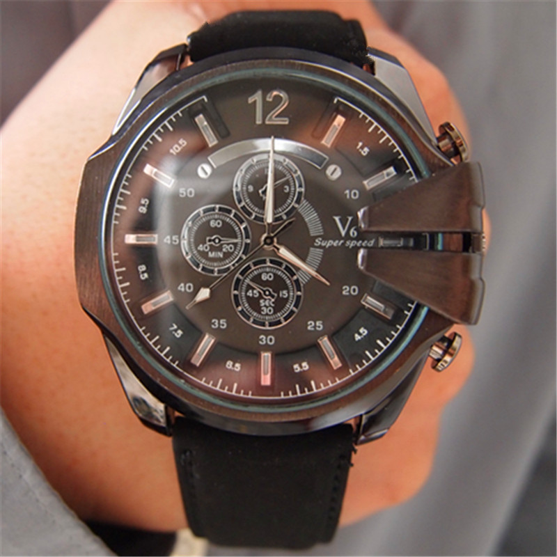 Prix pour V6 Super Speed Designer marque 5.3 cm BIg Face montres hommes mode Casual en cuir montre à Quartz Relogio Masculino originale de Marca