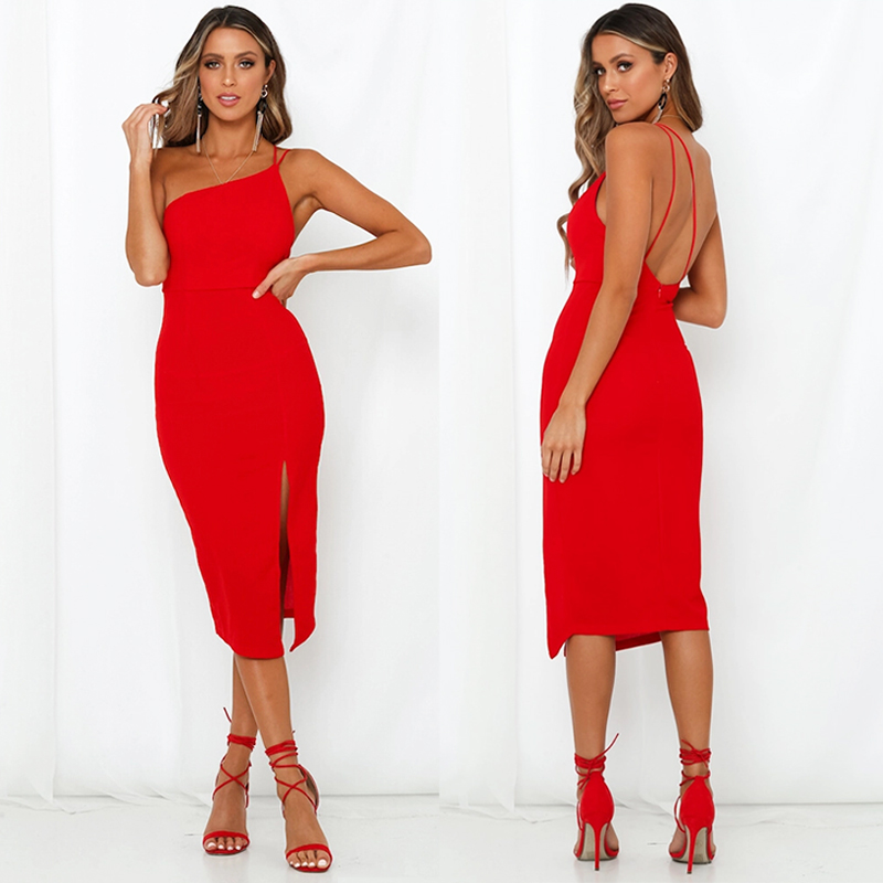 HTB1P6cse8WD3KVjSZKPq6yp7FXaL Evening Party  Dress vestidos Women Backless One Shoulder Split Bodycon  Strap Christmas Red  Dresses 2019 New Arrivarls
