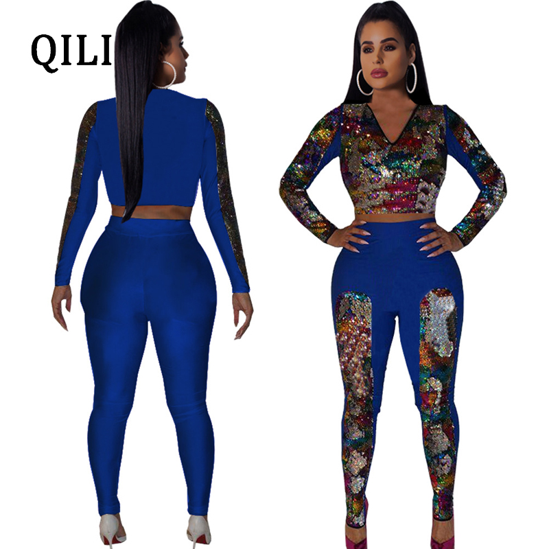 QILI Flipping sequins Women Jumpsuits Plus Size V neck Long Sleeve Patchwork Two Piece Set Fashion Jumpsuit 2019 Spring New in Jumpsuits from Women 39 s Clothing