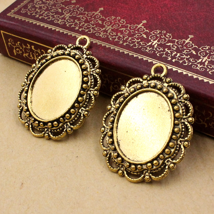 Fit 14x18mm Oval Antique Gold Glass/Cabochon Frame Bezel Settings, Pendant Tray Blank 20pcs/lot K05490