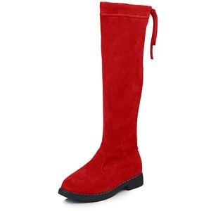 Image 4 - בנות מגפיים מעל הברך מגפי ילדי נעלי סתיו חורף אופנה בנות נסיכה גבוהה מגפי קטיפה חם ילדי כותנה נעליים
