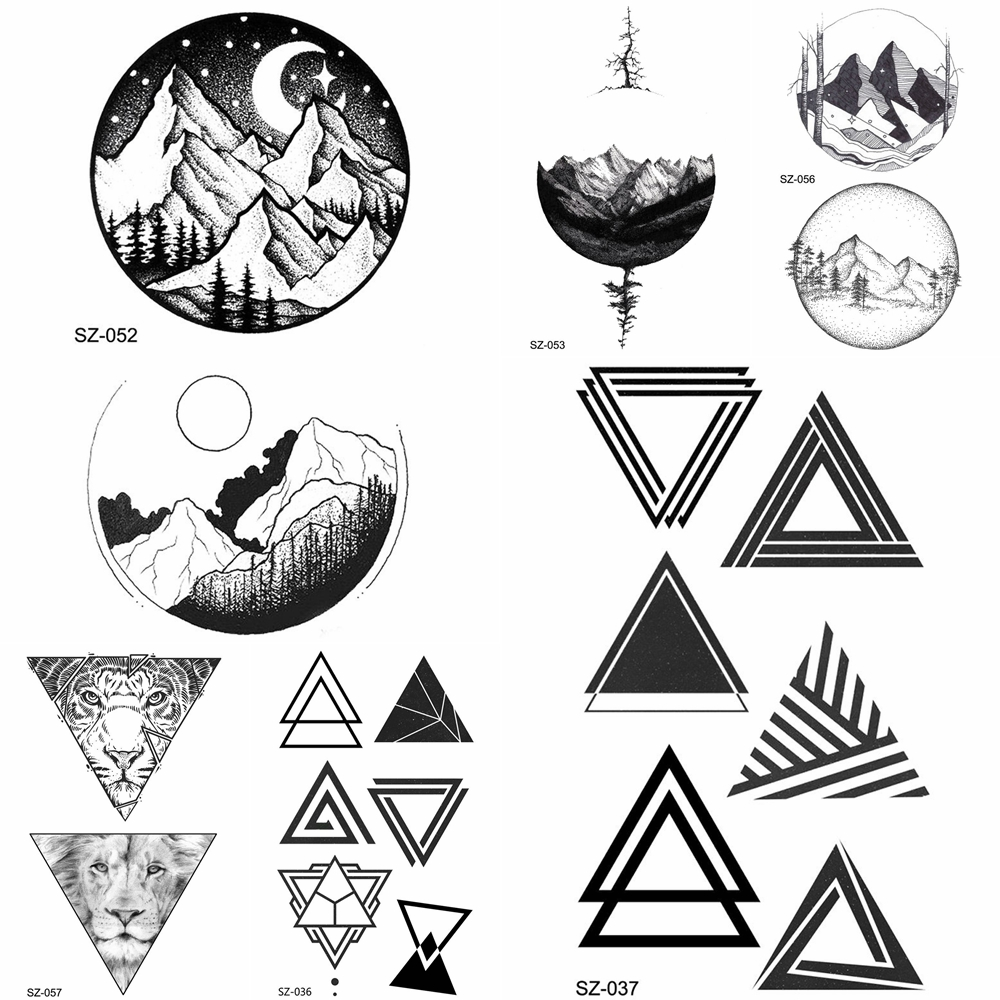 YURAN DIY Fake Geometric Triangle Tattoo Women Hip Hop Temporary Tattoo Round Moon Timber Tatto Stickers Men Body Arm Arrows