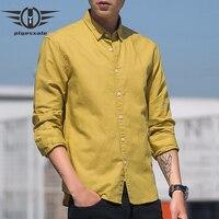 Plyesxale Cotton Linen Shirt Men Long Sleeve Autumn Fashion Mens Casual Shirts Business Dress Shirt White Black Grey Yellow T11