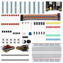 10 set/lote kit de partida eletronic com resistor do cabo da tábua de pão, capacitor, diodo emissor de luz, potenciômetro para arduino mega nano