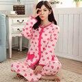 Mulheres New outono e inverno feminino pijamas de algodão define Heart-shaped longo-sleeved calças treino homewear conjuntos pijamas S2452