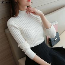 2018 fall fashion lace half Korean sweater slim lady turtleneck long sleeved thickened sleeve head base Xnxee