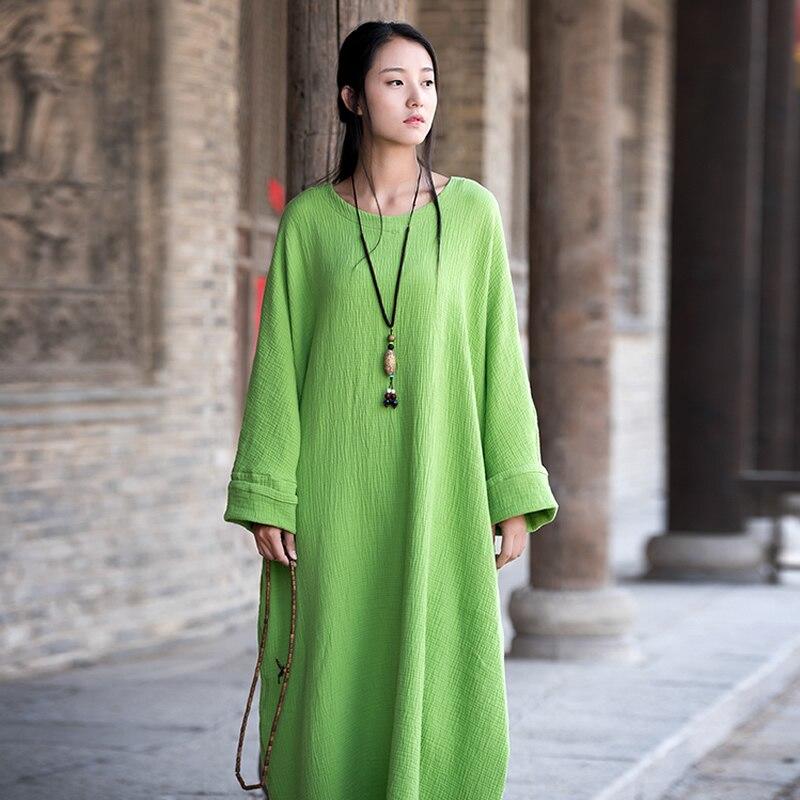 Plus big size Batwing Cotton Women Long Dress Oversized Zen style Solid Robe Femme Gown Dresses Loose Casual Maxi Dress B006