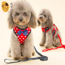 Fashion Dog Harness and Leash Set Teddy Vest Pet Walking Harnesses Puppy Cartoon Collar for Small Dogs Cat