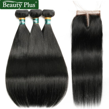Straight Bundles With Closure Brazilian Human Hair Weave With Closure Baby Hair Beauty Plus Pre Colored Non Remy One Pack Hair