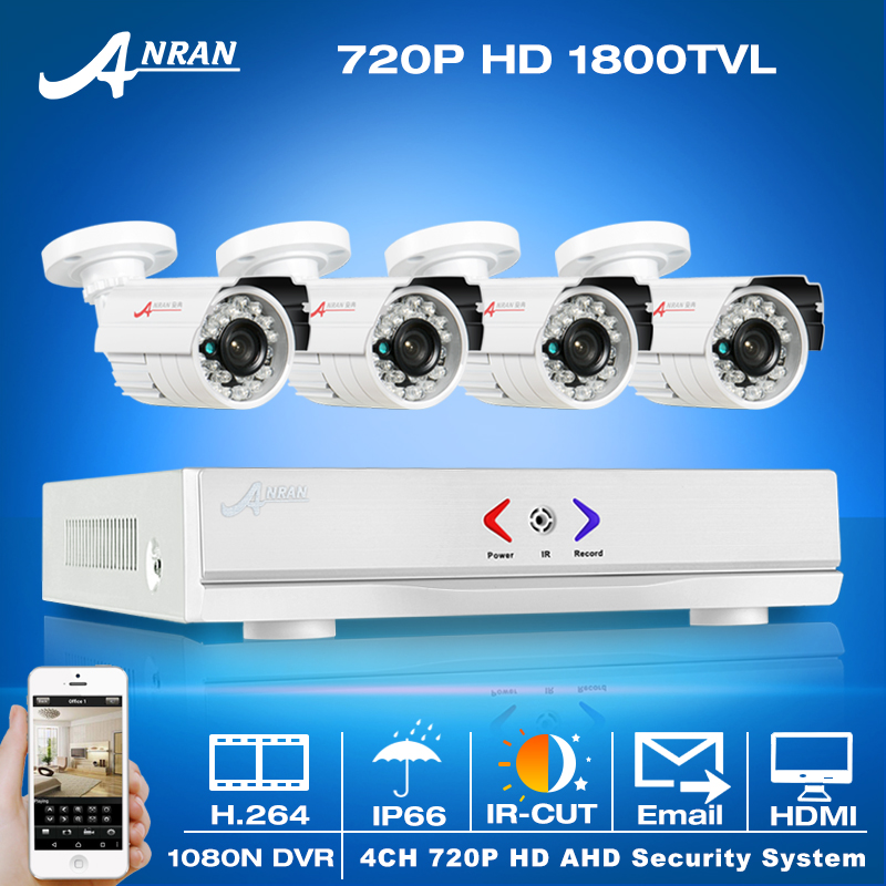 Newest!4CH 1080N HDMI DVR CCTV System&720P 1800TVL HD Outdoor Weatherproof Security Camera Home Video Surveillance Email Alarm